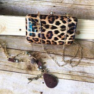 Last 1! Patent Leopard Print Box Clutch Bag